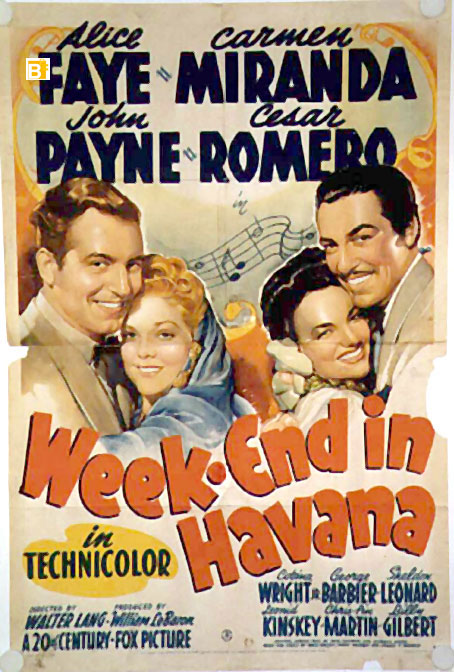 carmen miranda movie poster week end in havana movie poster. Black Bedroom Furniture Sets. Home Design Ideas