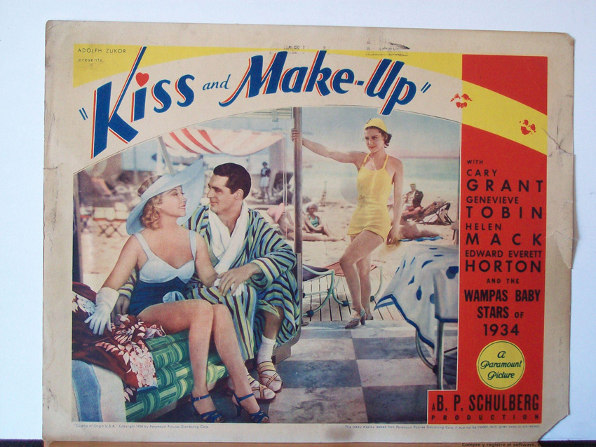 1934 Genevieve Tobin Cary Grant movie poster print Kiss and Make-Up